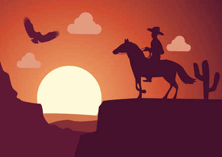 silhouette scenery cowboy in desert on sunset time