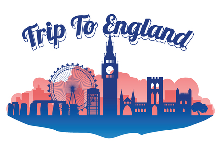England famous landmark silhouette style on island