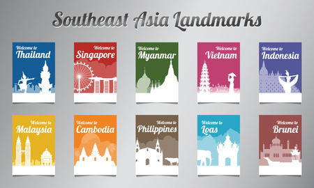 Hito famoso de la ASEAN en diseño de silueta con conjunto de folletos de estilo multicolor, ilustración vectorial