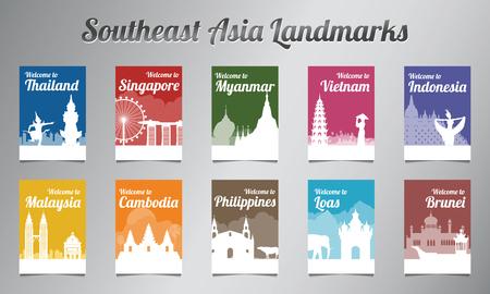 Point de repère célèbre de l'ASEAN dans la conception de la silhouette avec un ensemble de brochures de style multicolore, illustration vectorielle