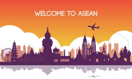famoso punto di riferimento del sud-est asiatico, destinazione di viaggio, design silhouette, colore sfumato viola e arancione, illustrazione vettoriale Vettoriali