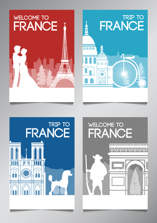 France famous landmark and symbol in silhouette style with national flag color theme brochure set,vector illustration
