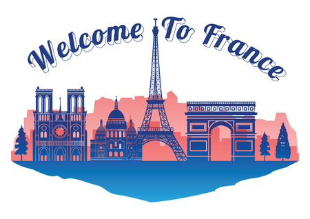 France top famous landmark silhouette style on island, welcome to France,travel and tourism,vector illustration
