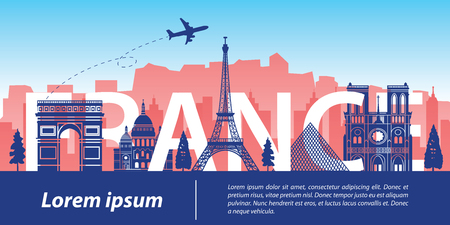 France top famous landmark silhouette style,France text within,travel and tourism,vector illustration