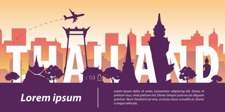 Estilo de silueta de hito famoso superior de Tailandia, texto de Tailandia dentro, viajes y turismo, ilustración vectorial Ilustración de vector