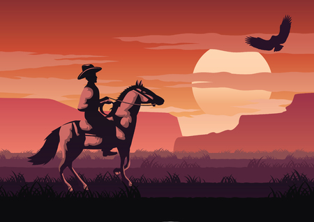 silhouette and monochrome scenery cowboy in Savannah field go back home on sunset time,red color style,vector illustration Illustration