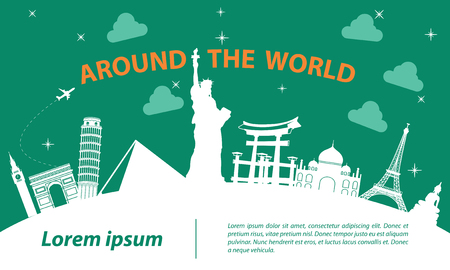 world  top famous landmark silhouette style on white curve,trip and tourism,vector illustration