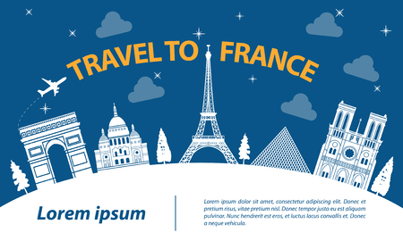 France top famous landmark silhouette style on part of white curve travel and tourism,vector illustration Illustration