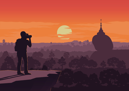 tourist take photo of famous pagoda,landmark of Myanmaron sunset time,vintage color style,vector illustration  イラスト・ベクター素材