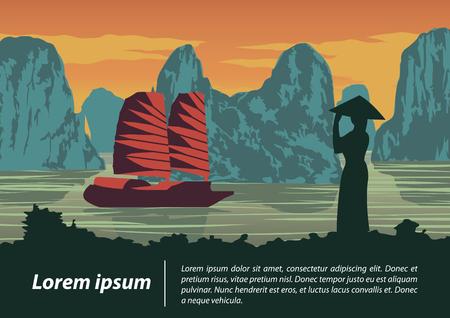 Vietnamesische Frau suchen, um in ha lange Bucht, Wahrzeichen von Vietnam auf Sonnenuntergangzeit, Weinlesefarbstil, Vektorillustration zu versenden Vektorgrafik