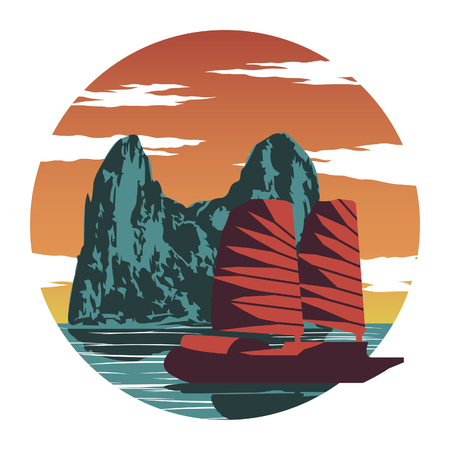 Rock island and red ship at Ha long bay famous landmark of Vietnam,for cloth and web design,vintage color,vector illustration Vector Illustration
