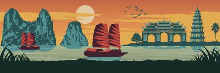 Top berühmtes Wahrzeichen von Vietnam, Schiff, Ha lange Bucht, Kaiserpalastkomplex in Hue und Tran Quoc Pagode in Sonnenuntergangszeit, Silhouette Design, Vintage Farbe, Vektor-Illustration