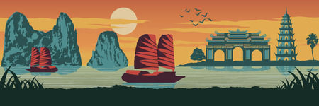 top famous landmark of Vietnam,Ship,Ha long bay,Emperor palace complex in Hue and Tran Quoc pagoda in sunset time,silhouette design,Vintage color,vector illustration Çizim