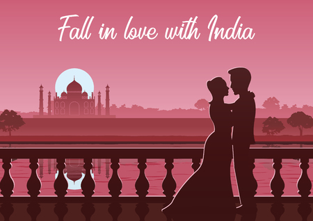 couple stand near river at Taj Mahal landmark of India,silhouette style Illustration