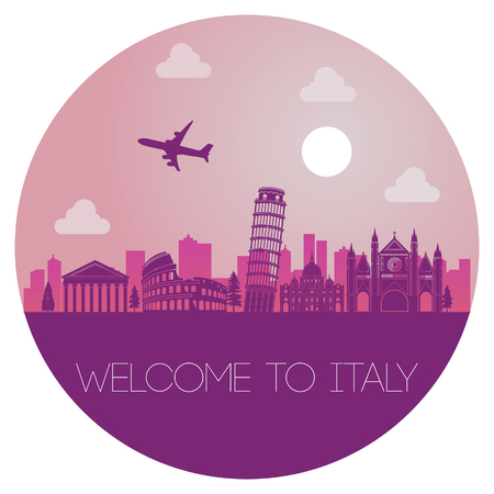 top famous landmark of Italy in circle,silhouette design pink color,vector illustration