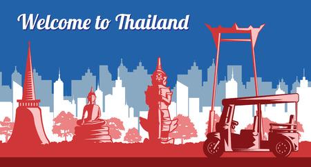 Thailand landmark flag color light and shadow or monochrome style,vector illustration