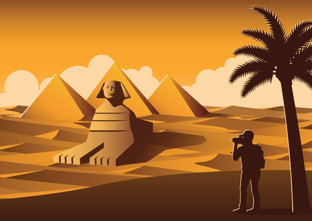 tourist take photo of famous place called Pyramid,landmark of Egypt on sunset time,yellow color style,vector illustration