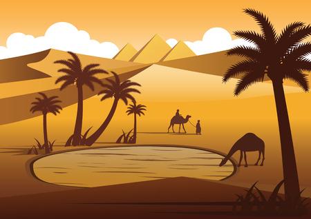 Il cammello beve acqua nell'oasi del deserto nelle vicinanze delle piramidi,silhouette design,illustrazione vettoriale