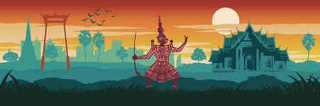 Top famoso y símbolo de Tailandia, rey del gigante en pantomima, templo de mármol y columpio gigante en el paisaje de la ciudad, color vintage, diseño de silueta, ilustración vectorial