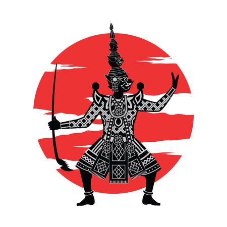 Rey del gigante parado frente al círculo rojo, personaje de la pantomima Ramayana de Tailandia e India, diseño realista monocromo, ilustración vectorial Ilustración de vector