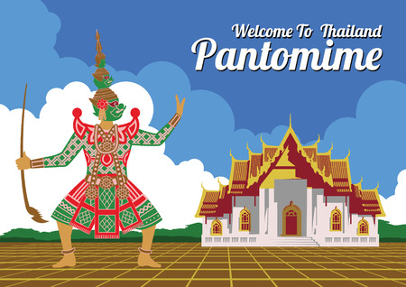 king of giant in pantomime,marble temple and giant swing,famous landmark and symbol of Thailand,for cloth and web design,vintage color,vector illustration