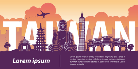 Taiwan top famous landmark silhouette style,Taiwan text within,travel and tourism,vector illustration,flag color design