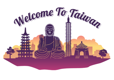 Taiwan top famous landmark silhouette style on island, welcome to Taiwan,travel and tourism,vector illustration