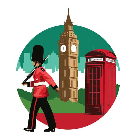 Soldat anglais, cabine téléphonique rouge et big ben, célèbre monument et symbole de l'Angleterre, pour la conception de tissus et de sites Web, couleur du drapeau national, illustration vectorielle