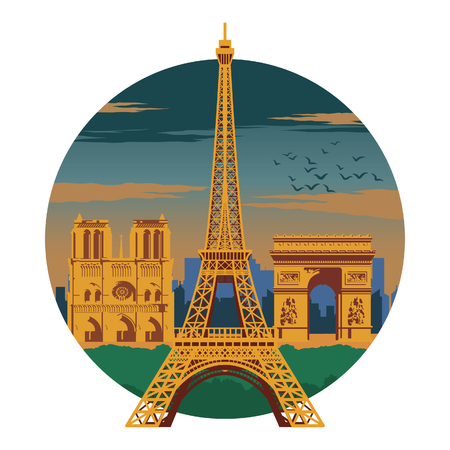 Eifel tower and top famous landmark and symbol of France,for cloth and web design,national flag color,vector illustration Illustration