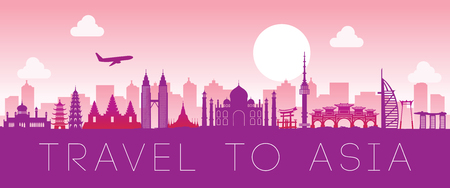 Top famous landmark of Asia,silhouette design pink color,vector illustration
