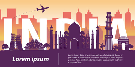 India top famous landmark silhouette style,India text within,travel and tourism,vector illustration,flag color design