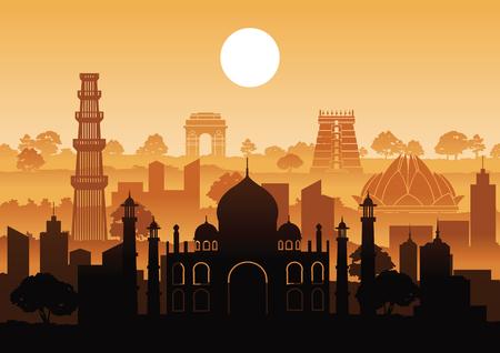 Estilo de silueta de hito famoso de la India con diseño de fila en la hora del atardecer, ilustración vectorial