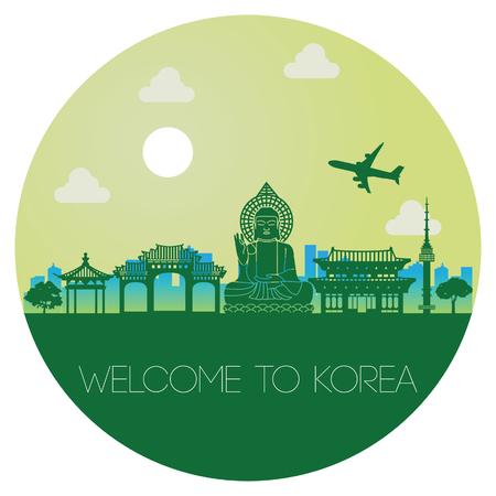 Top famous landmark of Korea in circle,silhouette design green color,vector illustration Illustration