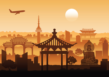 Korea famous landmark silhouette style with row design on sunset time,vector illustration