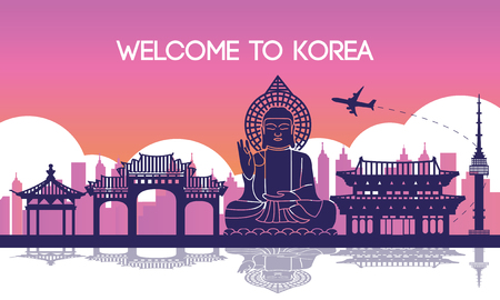 Famous landmark of South Korea,travel destination,silhouette design,purple and pink gradient color,vector illustration