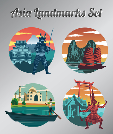 Famous landmark and symbol of Thailand,Japan,Vietnam and India for cloth and web design,vintage color,vector illustration