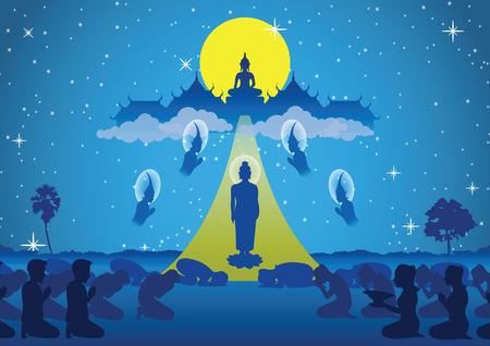 Le seigneur de Bouddha descend du ciel pour visiter et enseigner à sa mère le dharma, le début de tak bat thewo et la fin du jour du carême bouddhiste. entouré de moine ange et bouddhiste, illustration vectorielle
