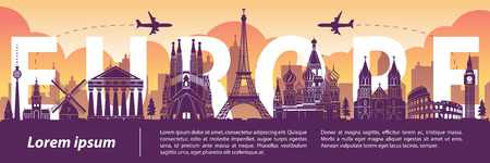 Europe top famous landmark silhouette style,text within,travel and tourism,vector illustration Ilustração