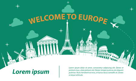 Europe top famous landmark silhouette style on white curve,trip and tourism,vector illustration