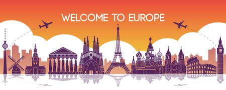 famous landmark of Europe,travel destination,silhouette design,purple and orange gradient color,vector illustration