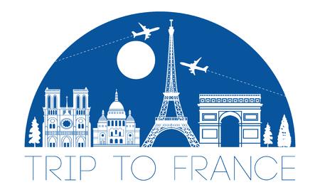 France top célèbre silhouette et dôme avec style de couleur bleue, voyages et tourisme, illustration vectorielle