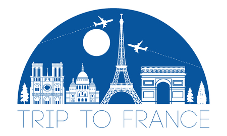 france top famous landmark silhouette and dome with blue color style,travel and tourism,vector illustration