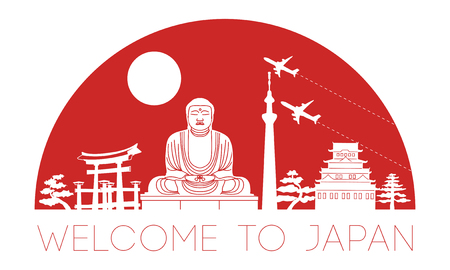 Japan top famous landmark silhouette and dome with red color style,travel and tourism,vector illustration