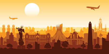 South america famous landmark silhouette style with row design on sunset time,vector illustration