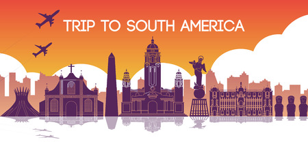Famous landmark of south america,travel destination,silhouette design,purple and orange gradient color,vector illustration