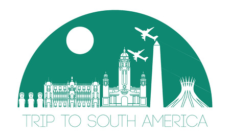 Top famous landmark of South america,silhouette and half of circle design,green color,vector illustration