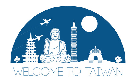 Taiwan top famous landmark silhouette and dome with blue color style, welcome to Taiwan,travel and tourism,vector illustration