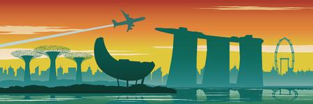 Singapore landmarks,silhouette design,vintage color,vector illustration