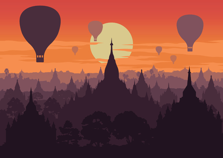 Tourist take photo of famous pagoda,landmark of Myanmar on sunset time,vintage color style,vector illustration