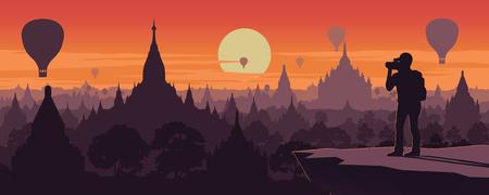 Tourist take photo of pagoda sea,landmark of Myanmar on sunset time,vintage color style,vector illustration
